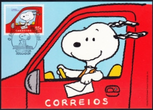 On 17th May 2001 The United States Of America Issued A Single Self Adhesive Stamp Entitled Peanuts These Depicted Snoopy Top His House As